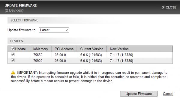 Fusion-io ioDrive installation - web console - select firmware
