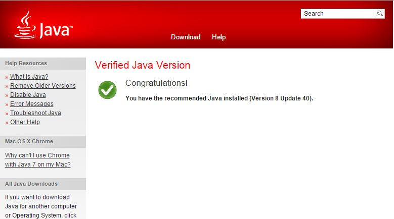 Java Version 8 Update 40