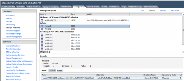 Fusion-io Install vSphere - step 4a GUI verification