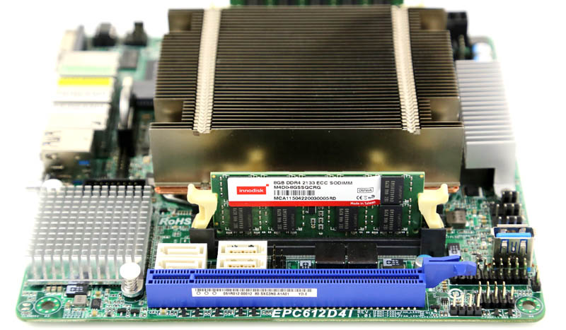Innodisk 8GB DDR4 ECC SODIMM installed