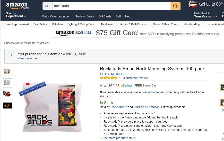 RackStuds Reds Amazon Purchase