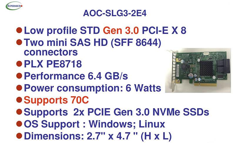Supermicro AOC-SLG3-2E4 Specs - 800 - ServeTheHome