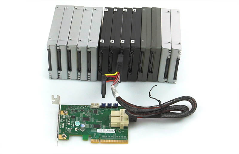 Supermicro AOC-SLG3-2E4R with 13 SFF SSDs