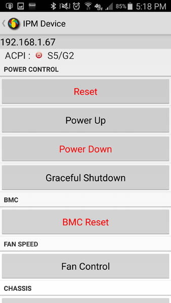 Supermicro IPMIview for Android - Remote Power Control