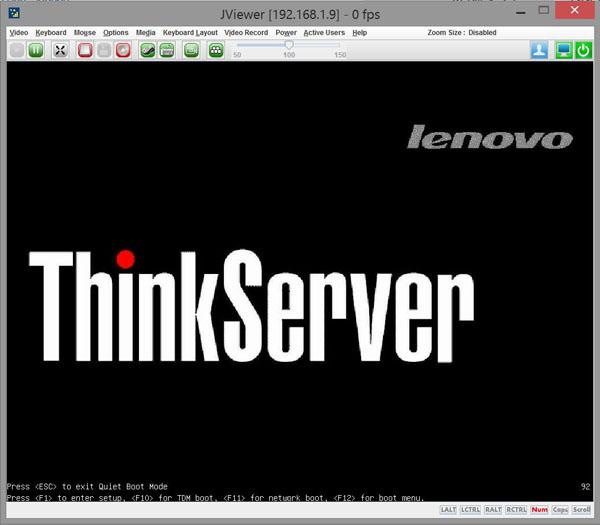 ThinkServer RD550 Startup Screen