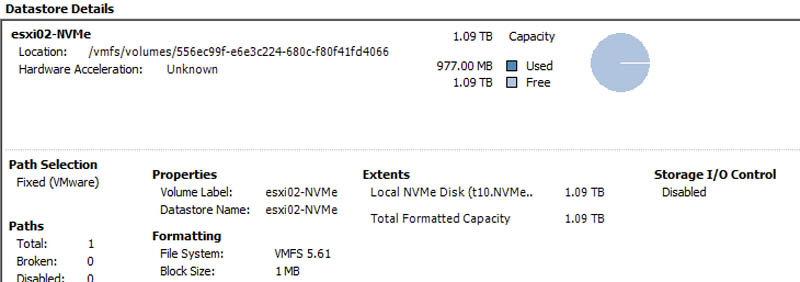 Intel DC P3500 1200GB available to ESXi 6