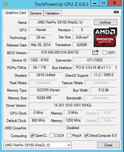 AMD S9150 GPUz Screen