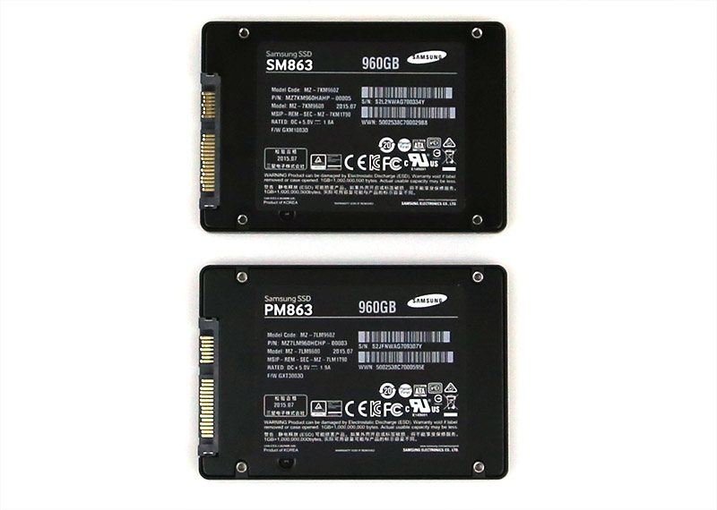 Samsung SM863 and PM863 960GB SSD