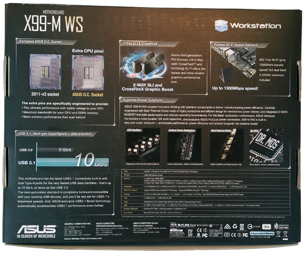 ASUS X99-M WS Box Back