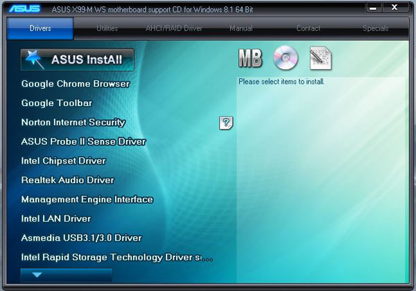 ASUS X99-M WS Driver DVD