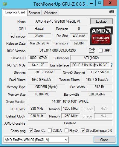 Gigabyte R280-G2O GPU Server - AMD FirePro W9100 GPUz
