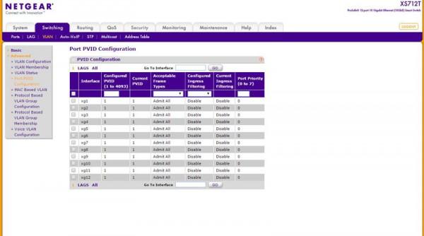 Netgear XS712T VLAN management