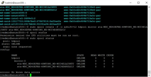 Ubuntu ZFS create mirrored zpool