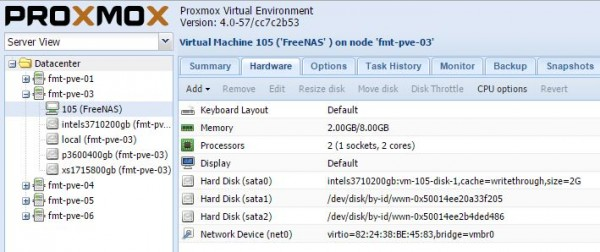 Example FreeNAS over Proxmox ZFS shared storage