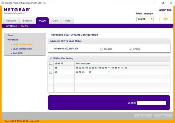 Netgear GSS116E - 802.11q VLAN