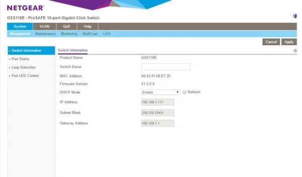 Netgear GSS116E - web configuration utility