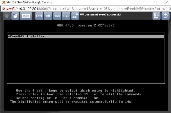 Proxmox FreeNAS - installer