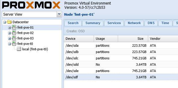 Proxmox VE Ceph Create OSD available