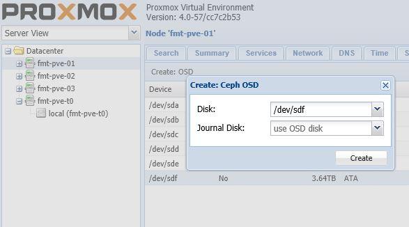 Proxmox VE Ceph Create OSD dialog