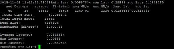 Proxmox VE Ceph Random Read Initial Benchmark