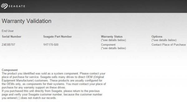 Seagate Warranty Check - OEM