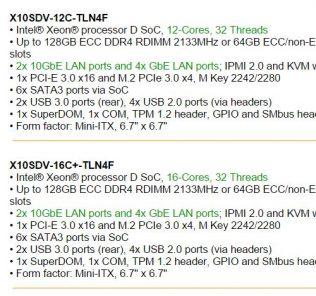 Supermicro X10SDV-12C-TLN2f and X10SDV-16C-TLN4F