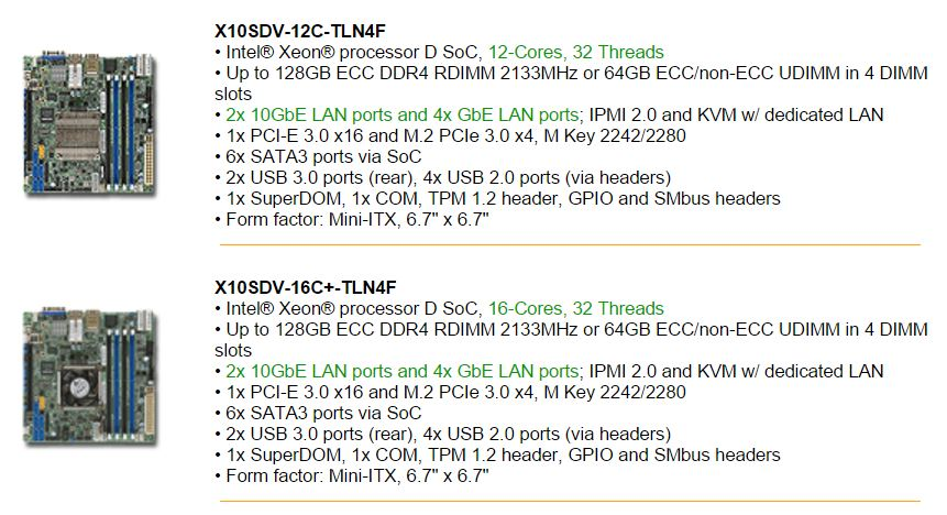 Supermicro X10SDV-12C-TLN2f and X10SDV-16C-TLN4F