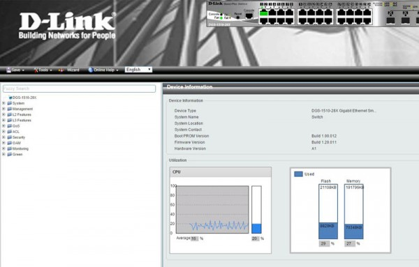 D-Link Switch Web GUI CPU Utilization
