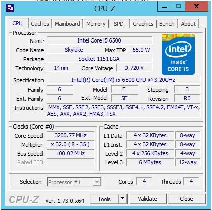 Supernicro X11SSQ-O - CPUz Skylake i5 ^500