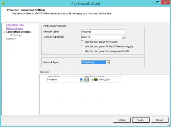 2 node flash vSAN - Add VMkernel - connection settings