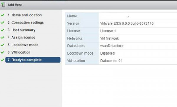 2 node flash vSAN - Complete Add a host wizard