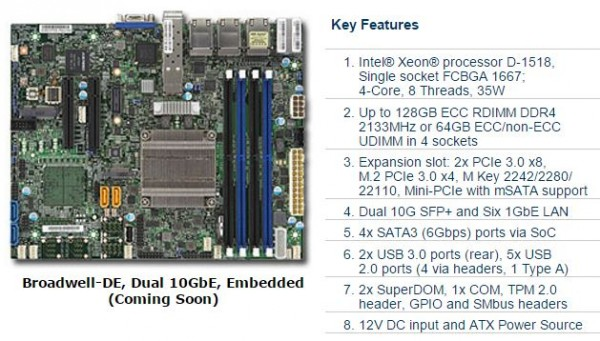Supermicro X10SDV-TP8F key features
