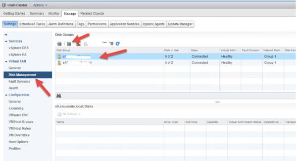 2 node flash vSAN - go to disk management
