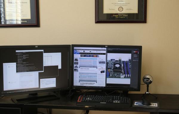 Dual HP ZR30w on desk
