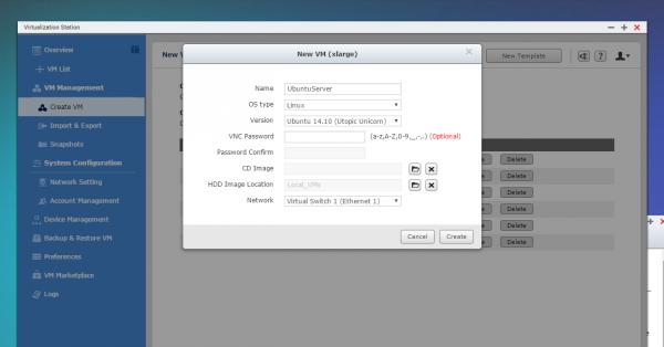 QNAP QTS Virtualization Station - Create VM - Ubuntu Server