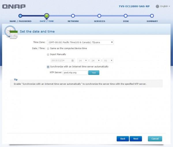 QNAP TVS-EC1280U-SAS-RP - time setup