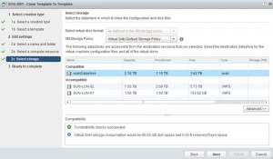 VMware vSAN - create a VM step 5 storage