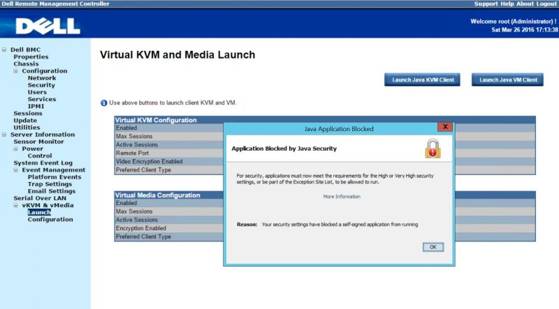Dell PowerEdge C6220 Virtual KVM - Java Application Blocked