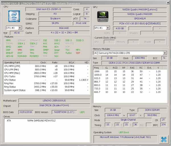 Lenovo ThinkPad P70 - HWiNFO