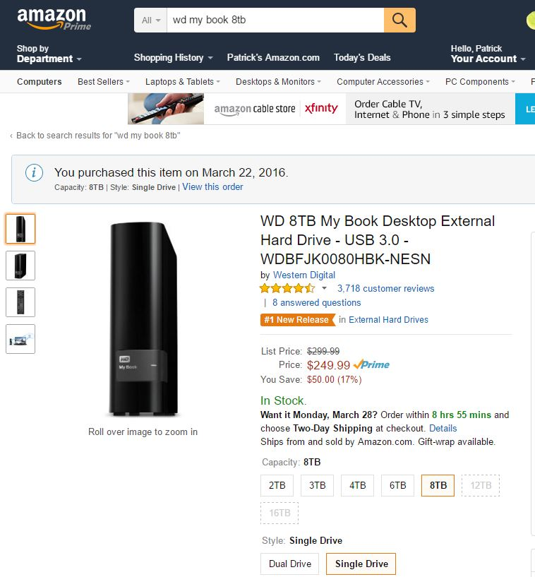 WD My Book 8TB Amazon