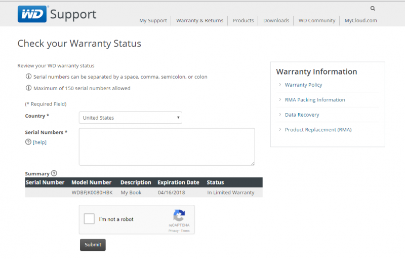 WD My Book 8TB Warranty Check