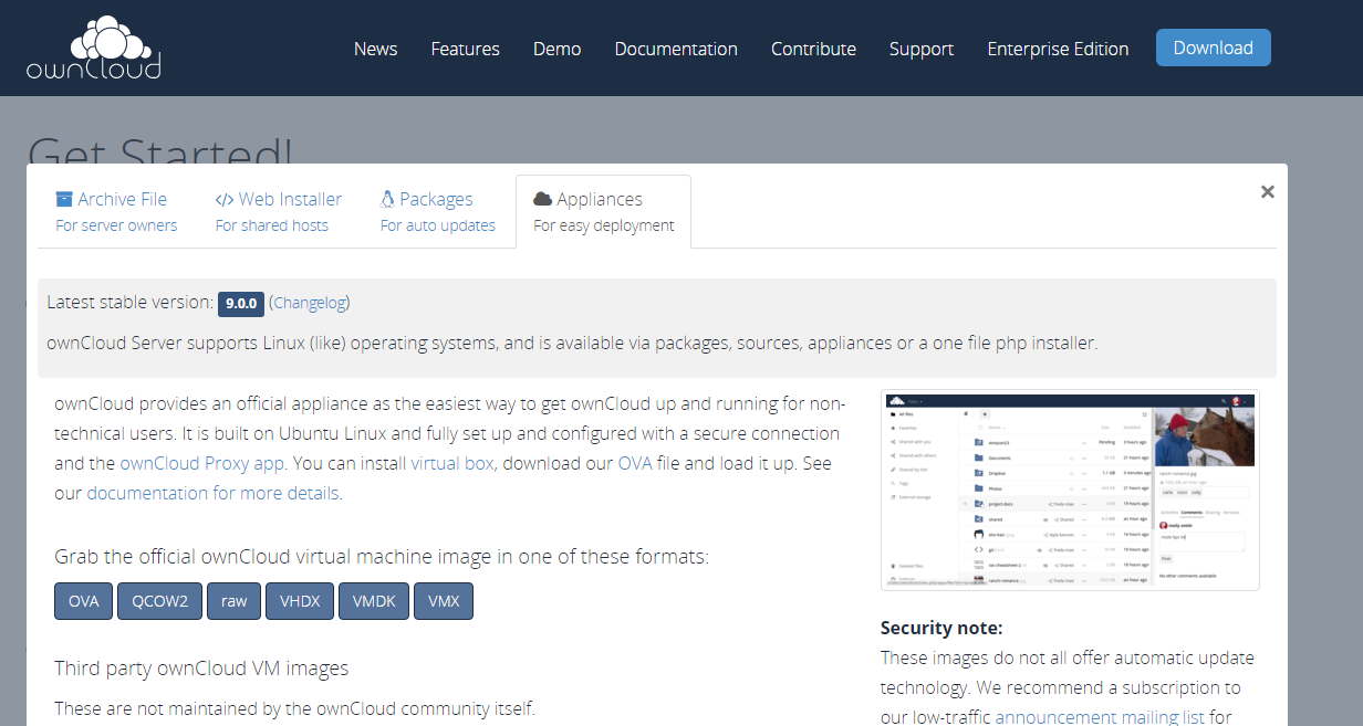 ownCloud version 9 download