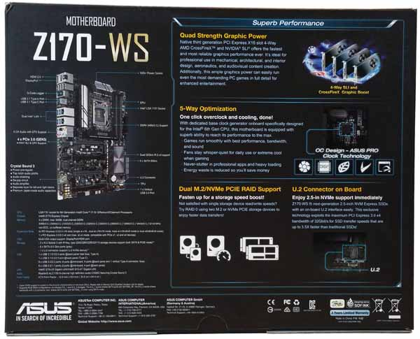 ASUS Z170 WS - Retail Box Back