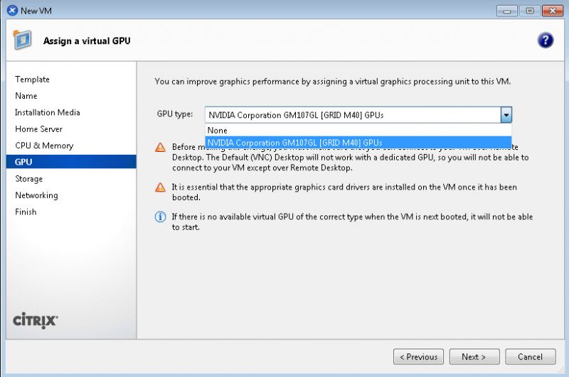 NVIDIA GRID M40 ID with Citrix