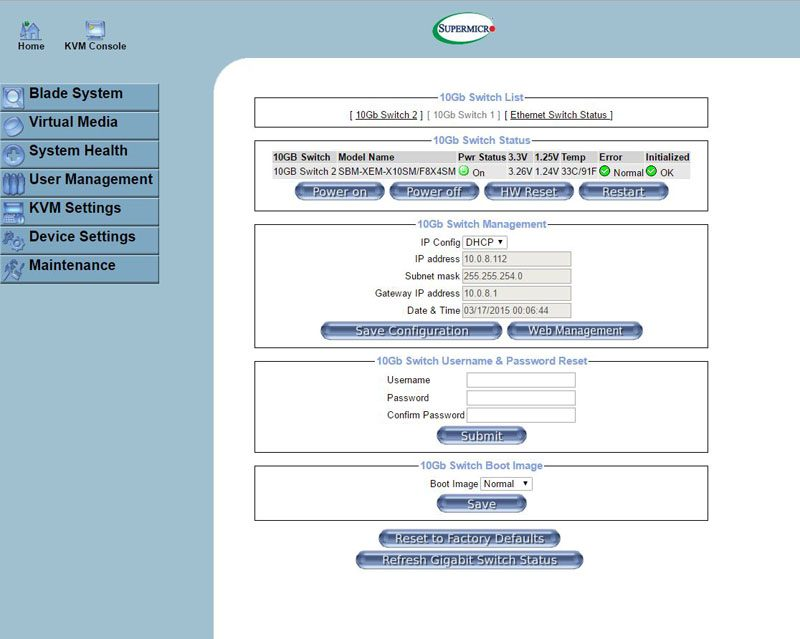 Supermicro SuperBlade Management Web GUI switch detail