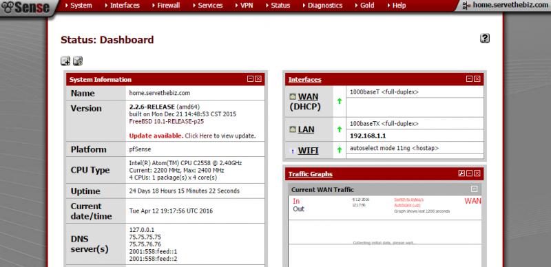 pfSense 2.2 dashboard