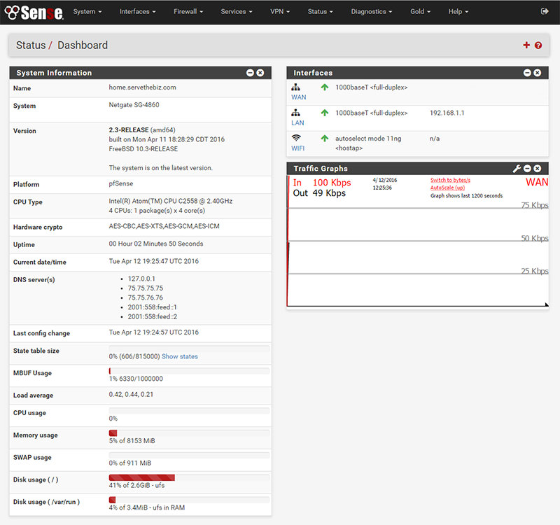 pfSense 2.3 dashboard