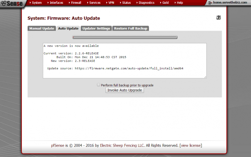 pfSense 2.3 web upgrade
