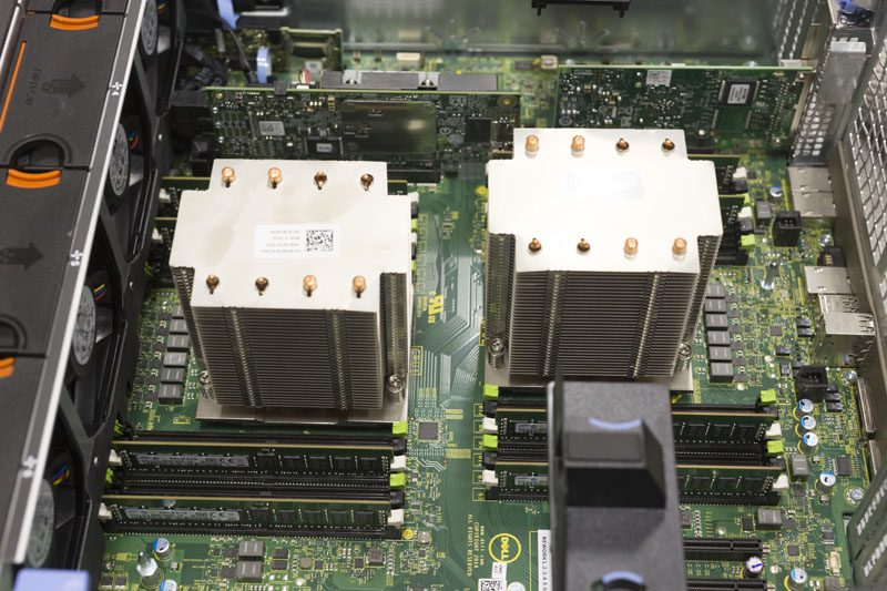 Dell PowerEdge T630 open CPU coolers and RAM