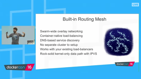 Docker 1.12 Orchestration - four features - built-in routing mesh